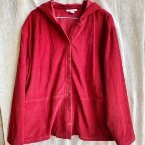 Dressbarn woman 2X red corduroy hoodie w/ snaps
